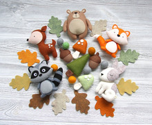 woodland plush <strong>animals</strong> Needle Felt Forest <strong>Animal</strong> for Baby toy room decoration