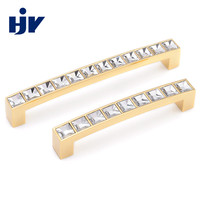 HJY kids kitchen cabinet door and drawer hardware pull crystal handle