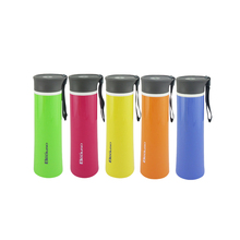 380ml BAP Free Hight Quality Plastic Double wall water bottle with <strong>flat</strong> lid