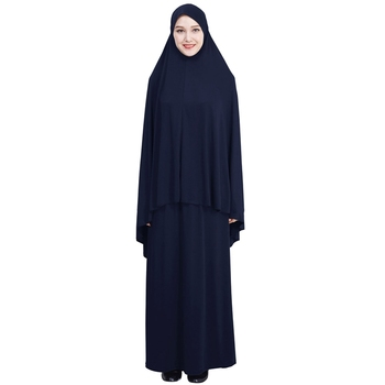 Wholesale Solid Color Loose Two-Piece Set Jilbab Muslim Clothing Hijab Abaya