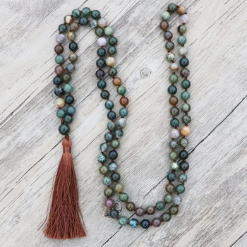 ST0598 Long Tassel Boho Necklaces For Men Green India Agate Knotted Necklace 108 Prayer Beads Mala Necklace Healing Jewelry