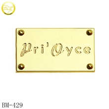 Custom engraved logo metal plate golden brand metal tag for <strong>wallet</strong>/handbag