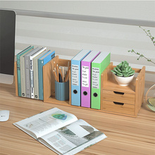 Adjustable Bamboo office small book rack Desktop Bookshelf Desktop storage simple table <strong>shelf</strong>