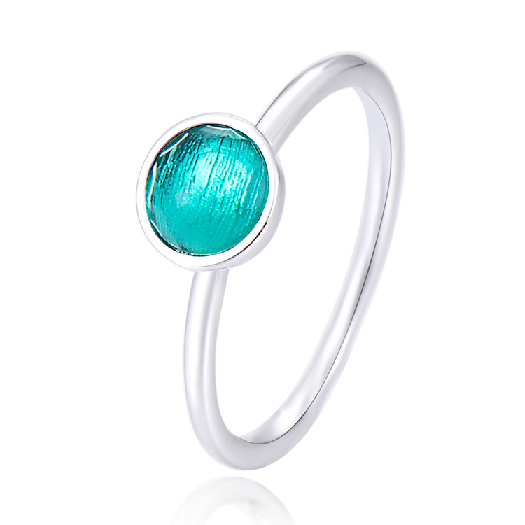 Most popular 925 sterling silver 3 A crystal dome shape birthstone blank bezel <strong>ring</strong>