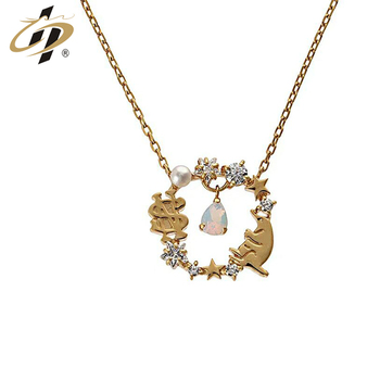 Gold plated  925 sterling silver elk bear jewelry Pendant Necklace