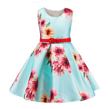 Summer Sleeveless Floral Printed Girls <strong>Dress</strong> Elegant Princess <strong>Party</strong> <strong>Dresses</strong> New Design Style Baby Cotton <strong>Dress</strong> 3-8 Years Old