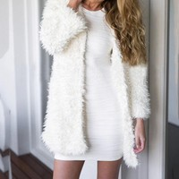Sweaters Women Invierno Winter Fluffy Shaggy Faux Fur Cardigan Feminino White Slim Long Sleeve Warm Outwear Sweater Cardigan