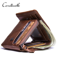 Contact's Factory Wholesale Crazy Horse Leather Trifold RFID Blocking Zipper Pocket Genuine Leather Coin Card Men Purse