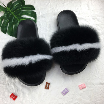 2019 Latest Colorful With Logo Sandals real fox Slippers Fur Slides Fluffy real Animal Fur Slippers For women