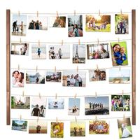 Wooden Wall Multi Photo Display Pictures Organizer DIY Wood Picture Frames Collage for Hanging Wall Decor with 30 Clips