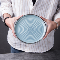 "Line series high quality cheap japanese style round 8/10 "" blue plate ceramic porcelain china glaze"