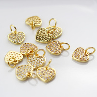 9mm copper cute floating pendant Gold color CZ Zircon heart charms for making jewelry accessories