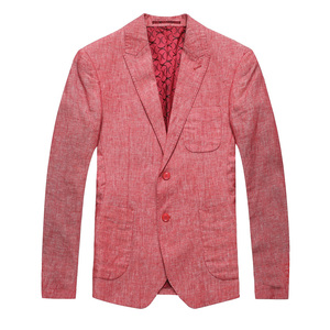 Latest Design Party Dress Slim Fit Linen Fabric Red Blazer Jacket For Men