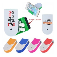 New arrival promotional gift personal pocket compact 3 in 1 Plastic <strong>mobile</strong> <strong>phone</strong> stand cleaning brush earbuds holder earphone