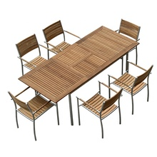 Custom ODM/OEM factory direct wholesale garden set modern outdoor patio teak wood extending dining <strong>furniture</strong>(D571/S271)