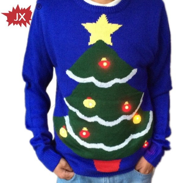 fashion Christmas Sweater with LED flash module for boys sweater design