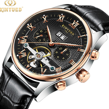 KINYUED Hot Sale Men Tourbillon Automatic Mechanical Watch Leather Strap <strong>Date</strong> Week Month