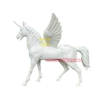 Large size White fiberglass flying unicorn statue sculpture