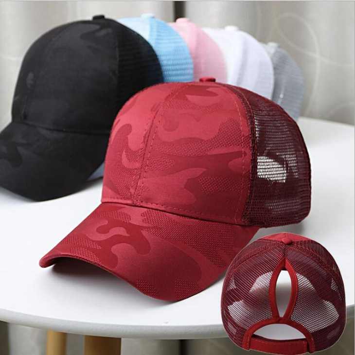 Fashion New Spring Summer Mesh Back Trucker Cap Light Camo Messy Bun <strong>Hat</strong> for Women