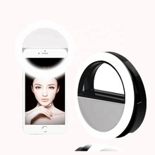 Wholesale Portable Beauty Flash LED Selfie Flashlight Mirror Round Clip Ring Light Phone Camera For <strong>Mobile</strong> Phone