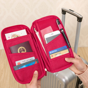 Waterproof family card holder travel passport bag organizer with neck shoulder strap