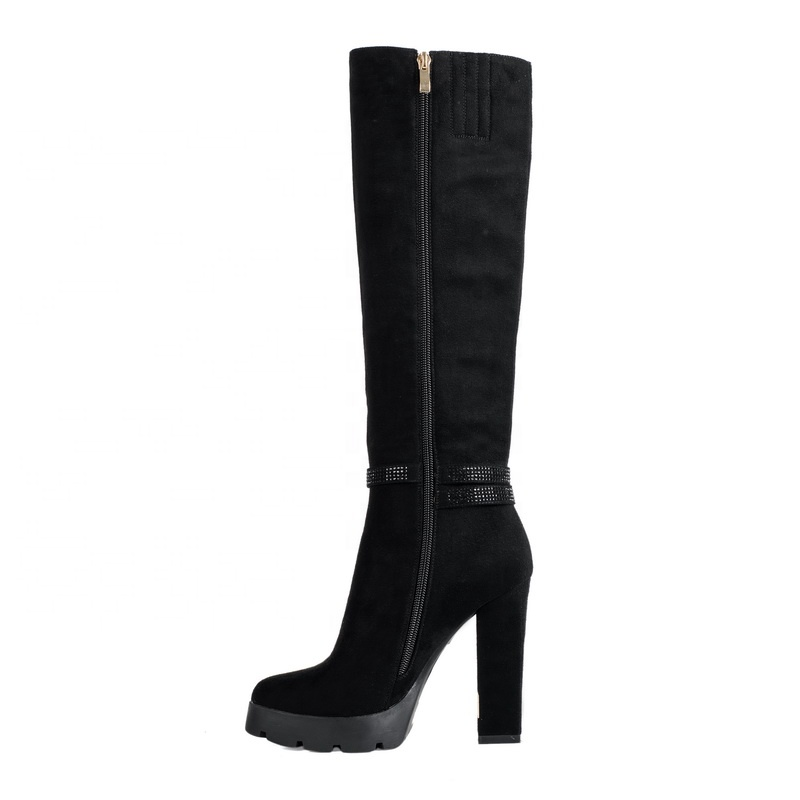 New Fashion Wholesale China Buckle Black PU Leather Popular Girl Platform Long Boots with Inner Zipper 2019