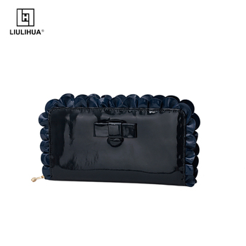 LLH Wholesale New Product Genuine Leather Women long Wallet fashionable ruffle trim decoration purse
