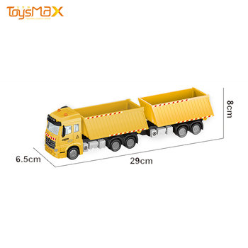 1:46 Scale 2019 New Europe Style Popular Pull Back Alloy Engineering Truck Toys Die Cast Model Truck 2 compartments