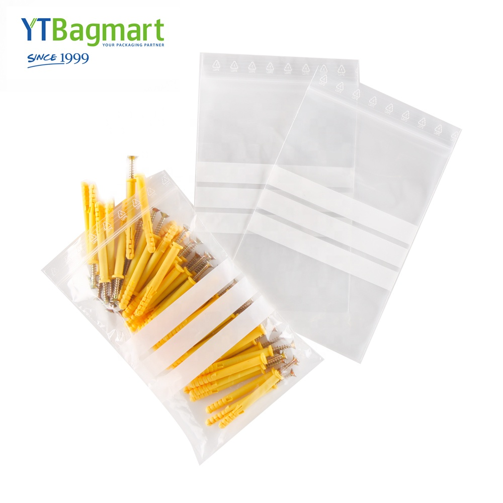 Grip Seal Re-Sealable Polythene Bags With Write-On Panel