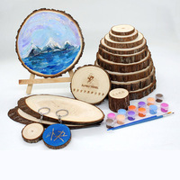 Designed Craft DIY Round Wooden Disc With Bark Craft Pyrography For Wedding and Birthday Gift