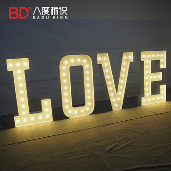 LED LOVE letters Outdoor Large Waterproof Marquee Big Alphabet Shiny Bulbs Letter Sign