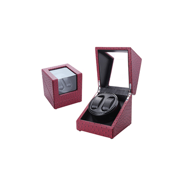 Red Ostrich Texture PU Leather Double Safety Watch Winder Direction