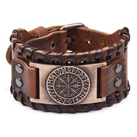 The Viking Compass Vegvisir Adjustable Metal Buckle Wide Genuine Leather Cuff Bracelet for women men