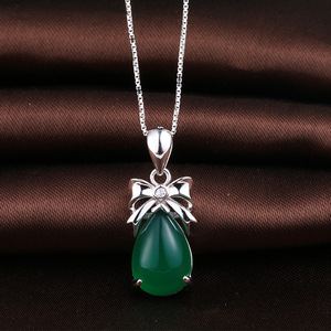 Cute silver jewelry pendant chrysoprase gemstone bowknot drop pendant