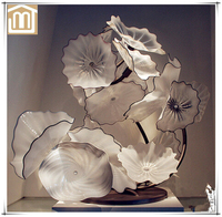 Modern wholesale handmade blown art glass garden decoration white lotus flower sculpture