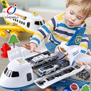 Multi-functional educational friction airplane model transformable battery operated plastic toy plane