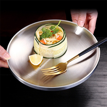 304 Stainless Steel Flat <strong>Plate</strong> Creative Round Food Tray Double Insulated Dinner <strong>Plate</strong>