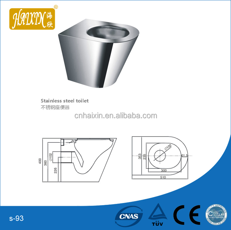 On-Floor, Floor Waste, Siphon Jet Stainless Steel Toilet for Front Mount