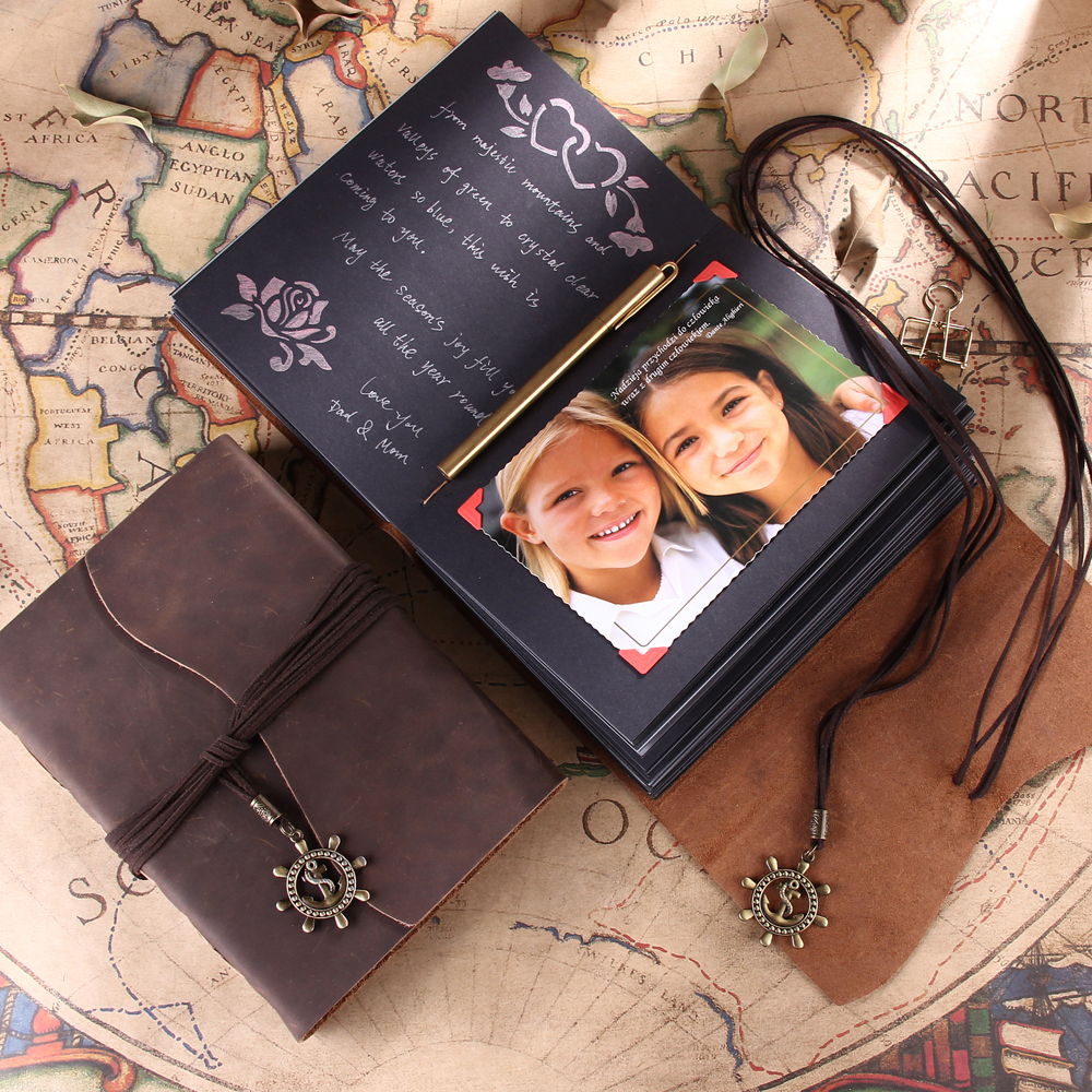 Leather Cover Vintage Style Wedding Family Photo Album Scrapbook for Monogram for Photographer