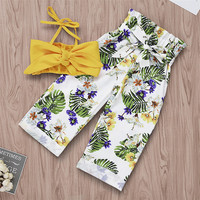 Hot sale Latest design new fashion children girl clothes sets boutique kids clothes Printed bow girl outfit