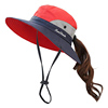 Fashion ladies sun protection hats boonie hat ponytail sun hat cap custom bucket hat