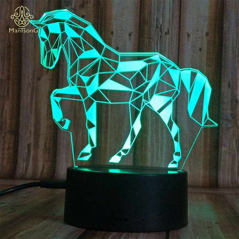 Horse 3D Illusion Lamp Holiday Decor 3D LED Night <strong>Light</strong> 3D LED Table Lamp