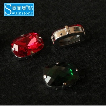 LanLee0809-- High quality Cabochon Stone red,Point back rhinestone with Claw ring, Colorful Cabochon Stone