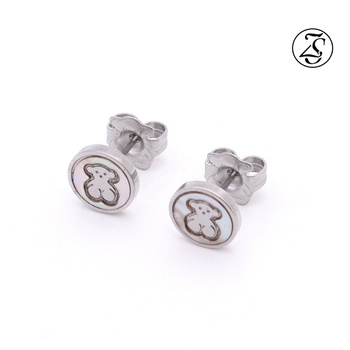 Hot Selling Female Jewelry Stainless Steel Earrings Animal Carving Round Earrings