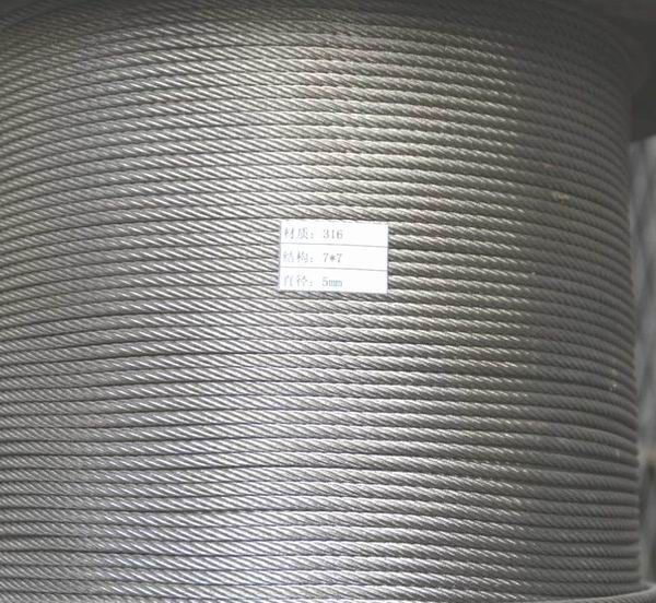 dia 3mm-9mm SS304/316 stainless steel wire rope