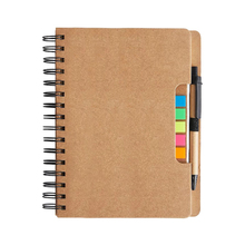 Promotional A5 Customized Kraft cover Spiral Notebook with ball Pen Sticky Notes Marker Colored Tab Flags hardcover stationery