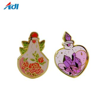 Wholesale custom design logo diy kids flower hard enamel butterfly metal lapel pin