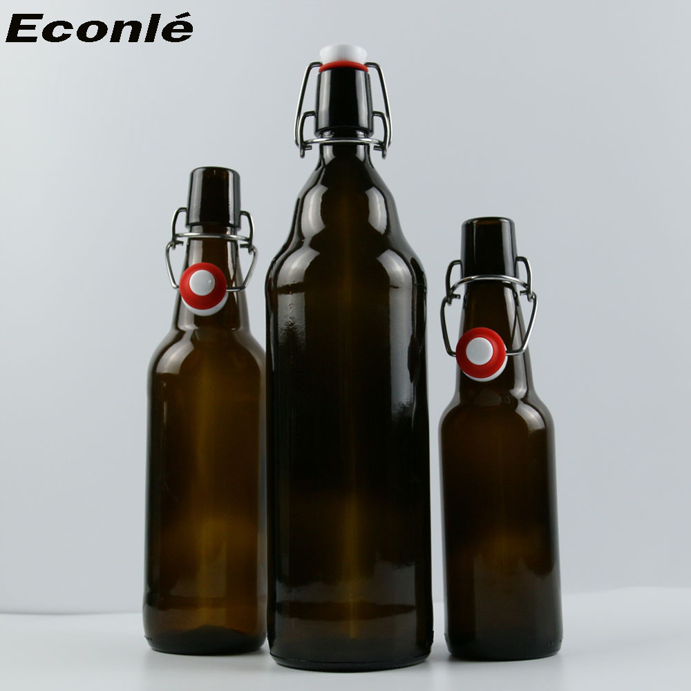 wholesale 1000ml 500ml 330ml swing top amber glass beer bottle