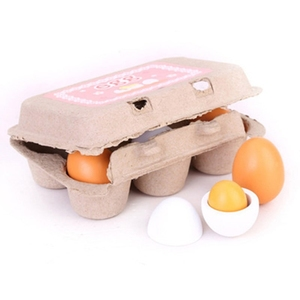 6 PCS Wooden Eggs Yolks Simulated Kitchen Food Cooking Toys Set Pretend Play For Children