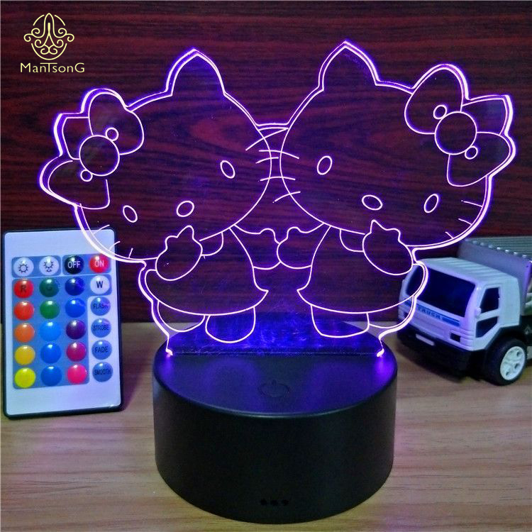 3D Acrylic Illusion Led Night <strong>Light</strong> Lamp ABS Base USB Power Battery Night <strong>Light</strong> For Kids